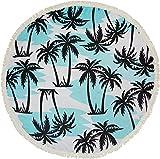 styleBREAKER rundes Strandtuch mit Palmen Print und Fransen, Tuch, Badetuch, Pareo, Unisex 05050041, Farbe:Weiß-Hellblau