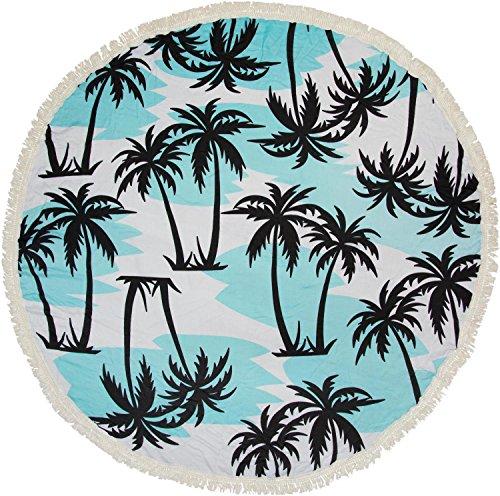 styleBREAKER rundes Strandtuch mit Palmen Print und Fransen, Tuch, Badetuch, Pareo, Unisex 05050041, Farbe:Weiß-Hellblau -