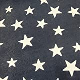 0,5m Micro-Fleece Sterne dunkelblau-weiß Meterware 100% Polyester