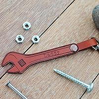 Personalised Dad Keyring Leather Spanner