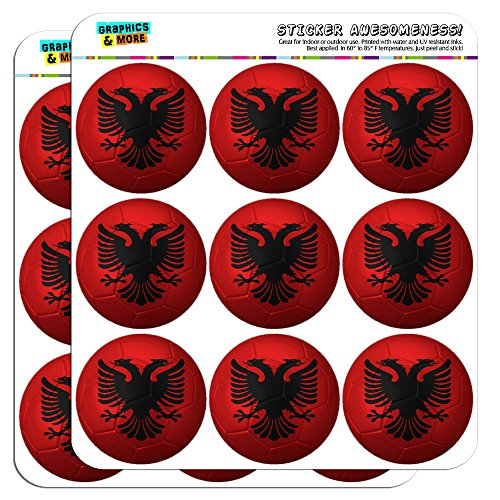 Albanian Flag Soccer Ball Futbol Football 2 Scrapbooking Crafting Stickers by Graphics and More
