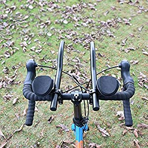 Triathlon Aero Bicycle Tri Bars Relaxlation Handlebars Aluminum Alloy Arm Rest Bike TT Handle Bars - For Road Mountain Bike Cycling Race MTB Relax Rest Break (black)