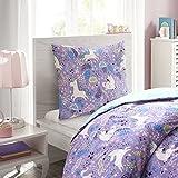 Mizone Kids singolo Unicorn Lola stampato copripiumino e federa, riempire la vostra camera da letto con il fascino dolce e originale, 100% cotone traspirante, alla moda per bambine, set copripiumino trapunta (135x 200cm + 80x 80cm, gradazioni)