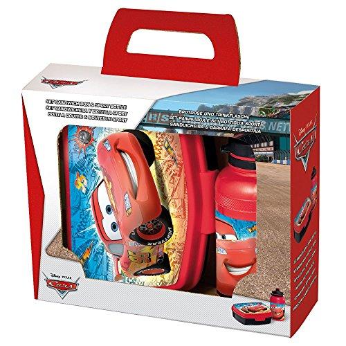 POS Handels GmbH Set Brotdose & Trinkflasche Race | Disney Cars | Wasser-Flasche | Brotbüchse