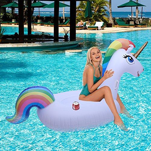 Enfant et Adulte Bouée licorne géante pour piscine, radeau gonflable