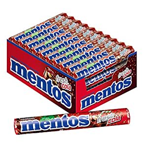 Mentos Fresh Cola | Dragees mit Cola-Geschmack | Karton mit 40 Rollen Bonbons | Multipack Kaubonbons