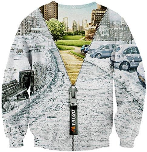 Pizoff Unisex Hip Hop Sweatshirts mit Bunt 3D Digital Printing Muster Y1759-F5