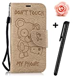 Galaxy J5 2017 case,Samsung Galaxy J5 2017 Flip Wallet Case,TOYYM Premium Yellow Bear Don't touch my phone Pattern PU Leather Wallet Case Cover Pouch [Magnetic Closure] with Card Slots for Samsung Galaxy J5 2017,Kickstand,Credit Card Holder,Book Style Flip Wallet with Flower Dust Plug&Stylus