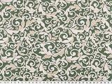 Zanderino ab 1m: Dekostoff, Ranken, grün-beige-weiß,
