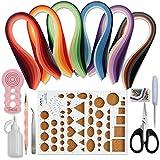 Juya Paper Quilling kit con 30 colori 600 strisce e 8 strumenti (Strumenti rosa, larghezza carta 5 mm)