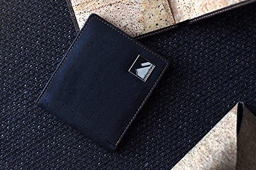 natventure ® Kork Geldbörse für perfekten Tragekomfort & gutes Gewissen, das Original mit Geschenkverpackung, Ökologisch & Vegan mit RFID Schutz, Portemonnaie in braun und schwarz - 5