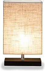 ZEEFO Holz Tischlampe, Retro Massiv Holz Und Stoffschirm Entspannende  Nachttischlampe Für Schlafzimmer Wohnzimmer, Studio