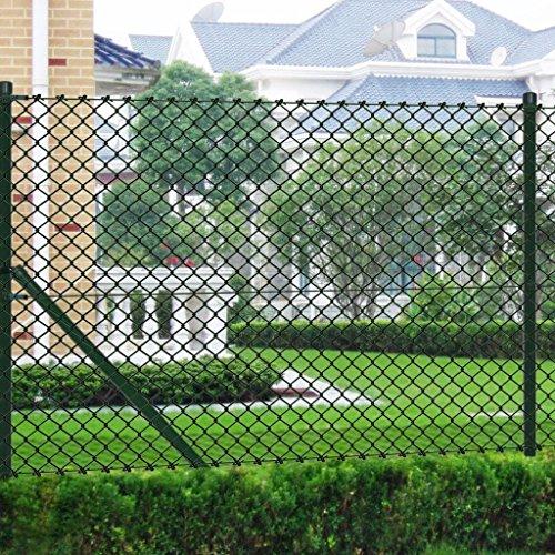 Lingjiushopping clôture de Maille Vert 1,25 x 25 m avec poteaux et Tous Les Accessoires données de clôture : Tailles : 1,25 x 25 m (Hauteur x Longueur)