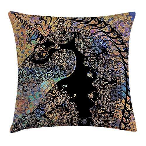 Kotdeqay Modernes Dekor Dekokissen Kissenbezug, zeitgenössische Bild Herz wie Blätter wirbelt Venen innere ArtworkPink lila und weiß -