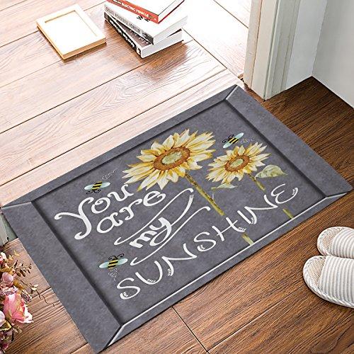 Libaoge You Are My Sunshine Zitat auf Tafel mit Bienen und Sonnenblumen Fußmatte Welcome Mat Eingangsmatte Indoor/Outdoor Fußmatte Badematte, Textil, grau, 20x31.5