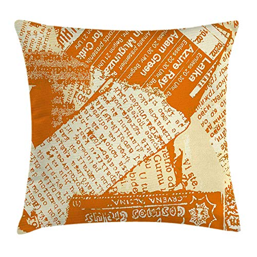 GONIESA Old Newspaper Decor Throw Pillow Cushion Cover, Torn Newspaper Pieces with Grungy Look Journal Magazine Publishing, Decorative Square Accent Pillow Case, 18 X 18 Inches, Orange White