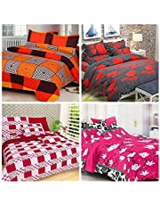 RS Home Furnishing Combo of Cotton Floral Printed King Size Double 4 Bedsheet with 8 Pillow Covers, Multicolour