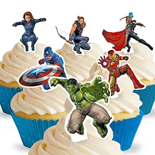 chnittene und Essbare Aufrecht Stehende Avengers Kuchen Topper (Tortenaufleger, Bedruckte Oblaten, Oblatenaufleger) (Avenger Cupcake Toppers)