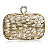 KYS Clutches Evening Bags Finger Ring Diamonds Beaded Flower Design Evening Bag Wedding Party Bag, gold