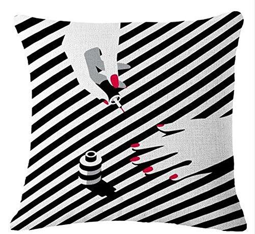 fringcoook Sexy Damen Lippenstift Nagellack Sonnenhut, schwarz, Stripes Überwurf-Kissenbezug Kissen Fall Baumwolle Leinen Deko-Stoff 18