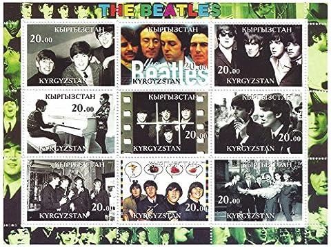 Classiques des Beatles timbres de collection - 9 menthe timbres perforés avec des photos classiques et des coups de magazines de la bande