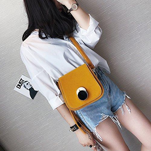 Frauen-Metall-Wölbung Clamshell Kleine Quadratische Tasche Schulter Messenger Bag Gelb