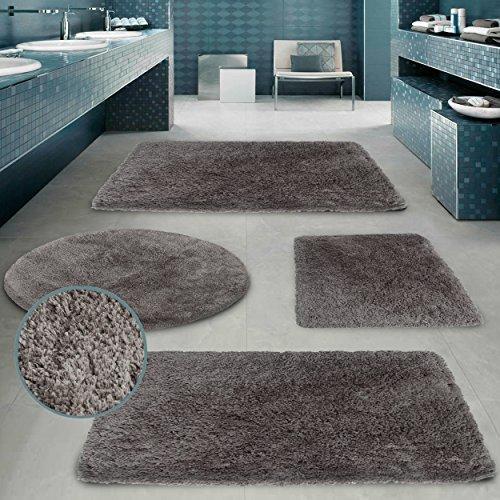 Alfombrilla de lujo CLOUD Pink Papaya - 50 x 80 cm - alfombra de baño súper suave de felpa de 60% microfibra / 40% algodón en calidad premiu - Color: Gris Claro