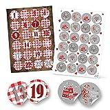 Weihnachtsaufkleber-Set: 24 Adventskalender-Zahlen rot weiß KARIERT + 24 grau weiß rote mit Weihnachtsgrüßen Frohe Weihnachten Frohes Fest Geschenkaufkleber - Adventskalender basteln
