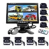 Veicolo monitor backup camera–Camecho 22,9cm 4split Front View, Rear View camera 18IR visione notturna impermeabile borsa per fotocamera con cavo 0,6x 10,1m e 0,6x 19,8m per camper, rimorchi, bus, camion