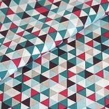 Baumwolle Stoff Geometrisch Meterware Pink Blau Dreieck Geo