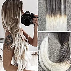 Full Shine 22 Pulgada 20 Piezas 50 Gramo Per Package Tape Extensiones Ombre Color # 2 Dark Brown Desvanecimiento de # 60 Platinum Blonde Cabello Natural 100 Humano Extension de Pelo Natural Con Banda Adhesiva
