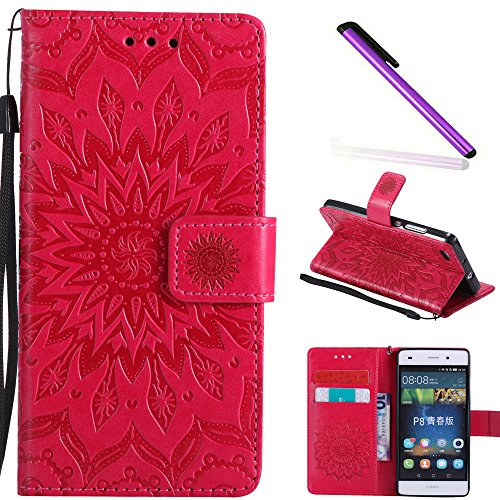 COTDINFOR Huawei P8 Lite Funda Flores Cierre Magnético Billetera con Tapa para Tarjetas de Cárcasa Elegante Retro Suave PU Cuero Caso Protectora Case para Huawei P8 Lite Sunflower Red KT