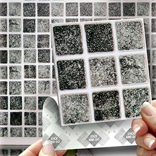 "18 GRANITE MOSAIC EFFECT WALL TILES - 2mm Thick and solid Self Adhesive Stick on Wall Tile Stickers Transfers - 18 tiles per box 4""x 4"" (10cm x 10cm) - NO CEMENTING ! NO GROUTING ! Each box of 2mm Thick Solid Tile Stickers will totally cover over the area"