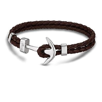 Lotus , LS1832,2/5  Bracelet Homme Cuir et Acier , Ancre marron