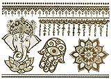 Temporäres Elefant Mandala Tattoo Set für Frauen Motiv | Entfernbare Klebe Henna Tattoos Festival Abzieh-Tattoo Folie | Künstlich goldene Fake Körperkunst Aufkleber Arm Sleeve Temporary