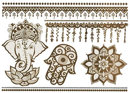 Temporäres Arm Fake Elefant Mandala Tattoo Set für Frauen mit Motiv | Entfernbare Klebe Henna Tattoos Festival Abzieh-Tattoo Folie | Künstlich Schwarze Körperkunst Aufkleber Arm Sleeve (Kostüm Muster Elefanten Halloween)