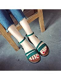GAOLIM Estudiantes En El Verano Sandalias Mujer Zapato Plano Tira Transversal Negro Sandalias De Amarre Ranurada