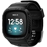 Spigen Rugged Armor PRO designed for Fitbit Versa 3 Case with Band and designed for Fitbit Sense Case cover with Band - Black
