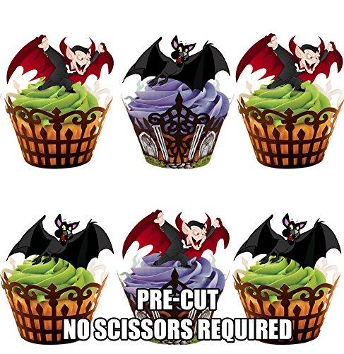 oween Vampire Fledermäuse – Essbare Cupcake Topper / Kuchendekorationen (12 Stück) (Halloween-lebensmittel Streich Ideen)