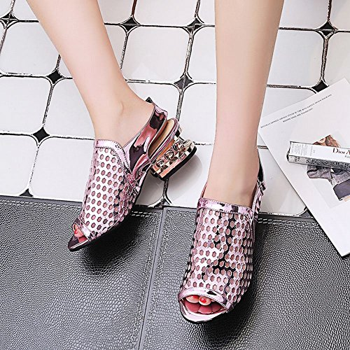 Mee Shoes Damen casual chunky heels Klettband Sandalen Lilarosa