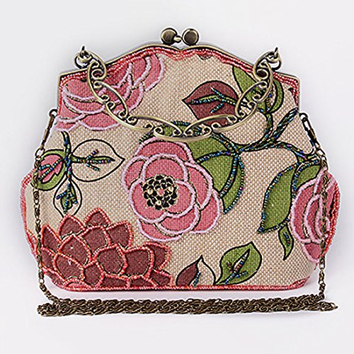 YYW Vintage Clutch Bag, Poschette giorno donna Red
