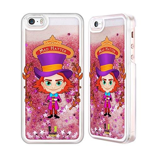 Head Case Designs Alice E Dina Alice Nel Paese Delle Meraviglie Custodia Cover con Glitter Liquidi Rosa per Apple iPhone 6 Plus / 6s Plus Cappelaio Matto