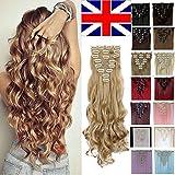 S-noilite 24 pouces (60cm) de Full Clip Tete dans les extensions de cheveux ondules boucles Ombre dip-dye - blond de cendre