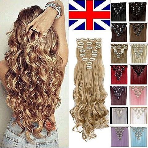 S-noilite® 60cm Full Clip tete dans les extensions de cheveux boucles Wavy 8 Pcs 18 clips blond de cendre
