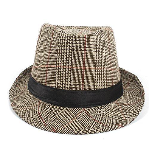 SCSY-Hut Mode Männer Baumwolle Plaid Fedora Hut für Vater Gentleman Sun Homburg Hut Größe 58 cm (Farbe : Tan, Größe : 58 cm) (Baumwolle Plaid Fedora-hut)
