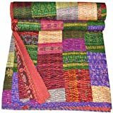 Indian Silk Sari Bedspread Kantha Blanket Handmade VIntage Patola Quilts Throw, Kantha Colourful Design Handmade Quilt,