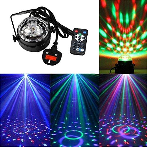 Sansee Geführter Disco-Ball beleuchtet DJ-Licht-Ton aktivierte Strobe-Licht-7 Farben-Kombination (Schwarz) (Disco-ball-christmas Lights)