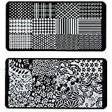 24x7 eMall 2 Pc Nail Stamping Plates For Nail Art 12 x 6 Cm (Random Designs)