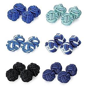 BE STEEL 6 Paare Manschettenknöpfe Knoten Seide Für Männer Frauen Hemd Vatertagsgeschenk