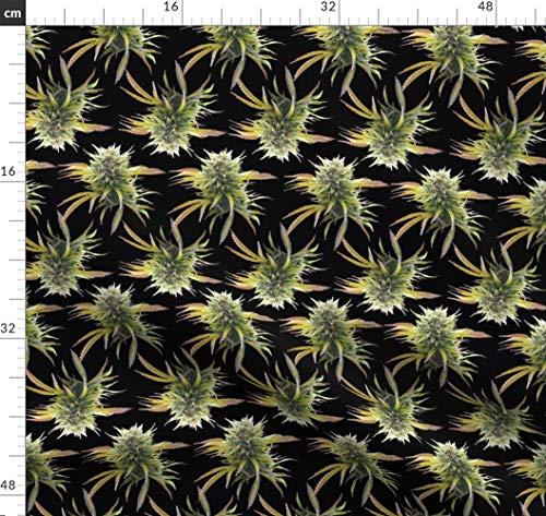 Cannabis, Marihuana, Kräuter, Haschisch, Hanf, Pot Stoffe - Individuell Bedruckt von Spoonflower - Design von Camomoto Gedruckt auf Bio Baumwollsatin - Kräuter-hanf